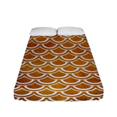 SCALES2 WHITE MARBLE & YELLOW GRUNGE Fitted Sheet (Full/ Double Size)