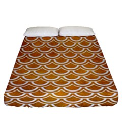 SCALES2 WHITE MARBLE & YELLOW GRUNGE Fitted Sheet (Queen Size)