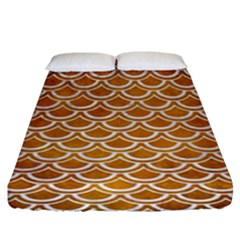 SCALES2 WHITE MARBLE & YELLOW GRUNGE Fitted Sheet (King Size)