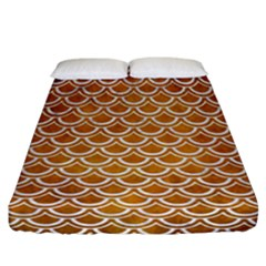 SCALES2 WHITE MARBLE & YELLOW GRUNGE Fitted Sheet (California King Size)