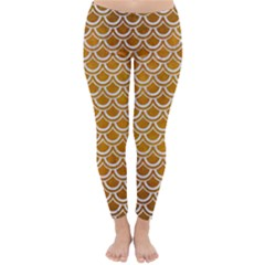 SCALES2 WHITE MARBLE & YELLOW GRUNGE Classic Winter Leggings