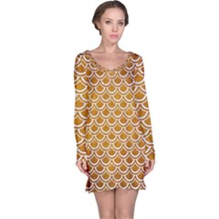 SCALES2 WHITE MARBLE & YELLOW GRUNGE Long Sleeve Nightdress