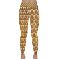 SCALES2 WHITE MARBLE & YELLOW GRUNGE Classic Yoga Leggings