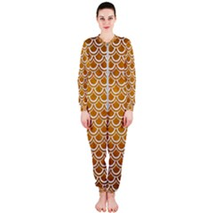 SCALES2 WHITE MARBLE & YELLOW GRUNGE OnePiece Jumpsuit (Ladies)