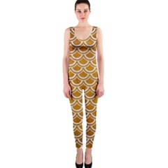 SCALES2 WHITE MARBLE & YELLOW GRUNGE One Piece Catsuit