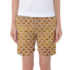 SCALES2 WHITE MARBLE & YELLOW GRUNGE Women s Basketball Shorts