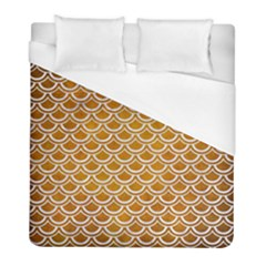 SCALES2 WHITE MARBLE & YELLOW GRUNGE Duvet Cover (Full/ Double Size)