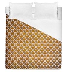 SCALES2 WHITE MARBLE & YELLOW GRUNGE Duvet Cover (Queen Size)