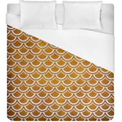 SCALES2 WHITE MARBLE & YELLOW GRUNGE Duvet Cover (King Size)