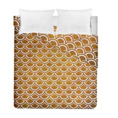 SCALES2 WHITE MARBLE & YELLOW GRUNGE Duvet Cover Double Side (Full/ Double Size)