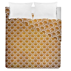 SCALES2 WHITE MARBLE & YELLOW GRUNGE Duvet Cover Double Side (Queen Size)