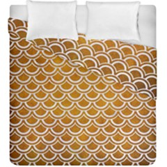 SCALES2 WHITE MARBLE & YELLOW GRUNGE Duvet Cover Double Side (King Size)
