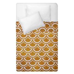 SCALES2 WHITE MARBLE & YELLOW GRUNGE Duvet Cover Double Side (Single Size)