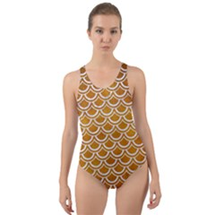 SCALES2 WHITE MARBLE & YELLOW GRUNGE Cut-Out Back One Piece Swimsuit