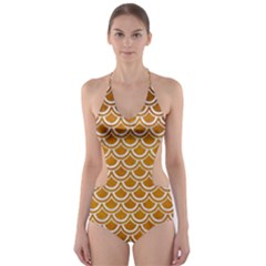 SCALES2 WHITE MARBLE & YELLOW GRUNGE Cut-Out One Piece Swimsuit