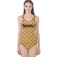 SCALES2 WHITE MARBLE & YELLOW GRUNGE One Piece Swimsuit
