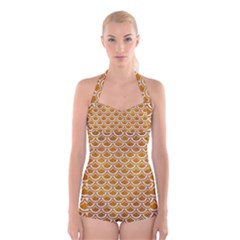 SCALES2 WHITE MARBLE & YELLOW GRUNGE Boyleg Halter Swimsuit