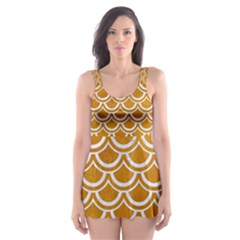SCALES2 WHITE MARBLE & YELLOW GRUNGE Skater Dress Swimsuit