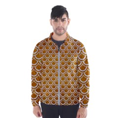 SCALES2 WHITE MARBLE & YELLOW GRUNGE Wind Breaker (Men)