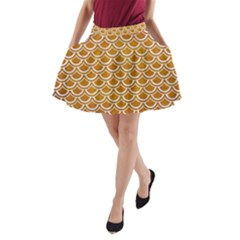 SCALES2 WHITE MARBLE & YELLOW GRUNGE A-Line Pocket Skirt