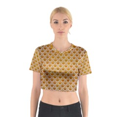 SCALES2 WHITE MARBLE & YELLOW GRUNGE Cotton Crop Top