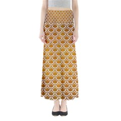 SCALES2 WHITE MARBLE & YELLOW GRUNGE Full Length Maxi Skirt