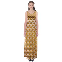 SCALES2 WHITE MARBLE & YELLOW GRUNGE Empire Waist Maxi Dress