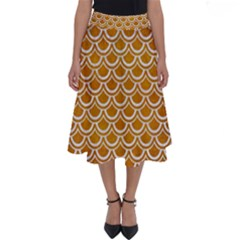 SCALES2 WHITE MARBLE & YELLOW GRUNGE Perfect Length Midi Skirt