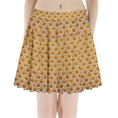SCALES2 WHITE MARBLE & YELLOW GRUNGE Pleated Mini Skirt