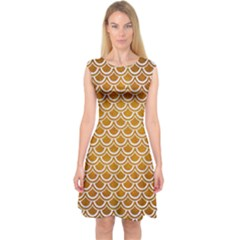 SCALES2 WHITE MARBLE & YELLOW GRUNGE Capsleeve Midi Dress