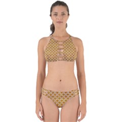 SCALES2 WHITE MARBLE & YELLOW GRUNGE Perfectly Cut Out Bikini Set