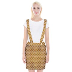 SCALES2 WHITE MARBLE & YELLOW GRUNGE Braces Suspender Skirt