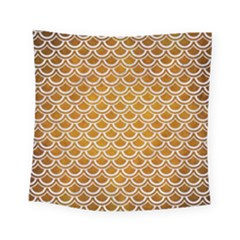 SCALES2 WHITE MARBLE & YELLOW GRUNGE Square Tapestry (Small)