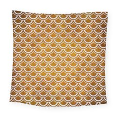 SCALES2 WHITE MARBLE & YELLOW GRUNGE Square Tapestry (Large)