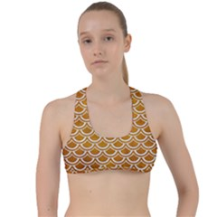 SCALES2 WHITE MARBLE & YELLOW GRUNGE Criss Cross Racerback Sports Bra
