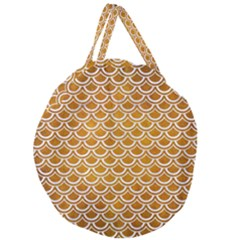 SCALES2 WHITE MARBLE & YELLOW GRUNGE Giant Round Zipper Tote