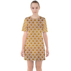 SCALES2 WHITE MARBLE & YELLOW GRUNGE Sixties Short Sleeve Mini Dress