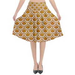 SCALES2 WHITE MARBLE & YELLOW GRUNGE Flared Midi Skirt