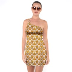 SCALES2 WHITE MARBLE & YELLOW GRUNGE One Soulder Bodycon Dress