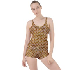 Scales2 White Marble & Yellow Grunge Boyleg Tankini Set  by trendistuff
