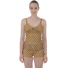 SCALES2 WHITE MARBLE & YELLOW GRUNGE Tie Front Two Piece Tankini