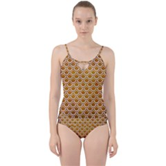 SCALES2 WHITE MARBLE & YELLOW GRUNGE Cut Out Top Tankini Set