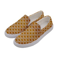 SCALES2 WHITE MARBLE & YELLOW GRUNGE Women s Canvas Slip Ons