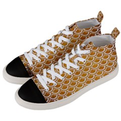 SCALES2 WHITE MARBLE & YELLOW GRUNGE Men s Mid-Top Canvas Sneakers