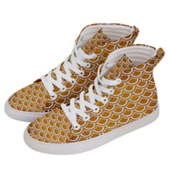 SCALES2 WHITE MARBLE & YELLOW GRUNGE Men s Hi-Top Skate Sneakers