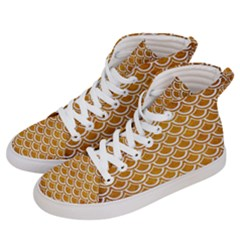 SCALES2 WHITE MARBLE & YELLOW GRUNGE Women s Hi-Top Skate Sneakers