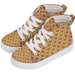 SCALES2 WHITE MARBLE & YELLOW GRUNGE Kid s Hi-Top Skate Sneakers