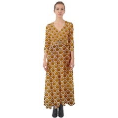 SCALES2 WHITE MARBLE & YELLOW GRUNGE Button Up Boho Maxi Dress
