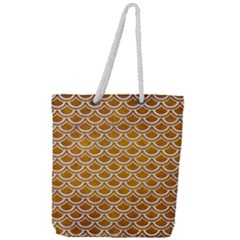 SCALES2 WHITE MARBLE & YELLOW GRUNGE Full Print Rope Handle Tote (Large)