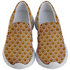 SCALES2 WHITE MARBLE & YELLOW GRUNGE Kid s Lightweight Slip Ons